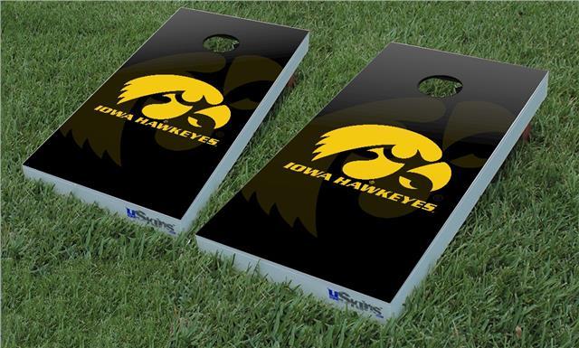 Cornhole Game Board Skin Wraps Iowa Hawkeyes Herkey Gold