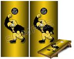 Cornhole Game Board Vinyl Skin Wrap Kit - Iowa Hawkeyes Herky on Black and Gold fits 24x48 game boards (GAMEBOARDS NOT INCLUDED)