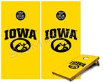 Cornhole Game Board Vinyl Skin Wrap Kit - Iowa Hawkeyes Tigerhawk Oval 01 Black on Gold fits 24x48 game boards (GAMEBOARDS NOT INCLUDED)