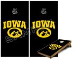 Cornhole Game Board Vinyl Skin Wrap Kit - Iowa Hawkeyes Tigerhawk Oval 01 Gold on Black fits 24x48 game boards (GAMEBOARDS NOT INCLUDED)
