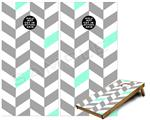 Cornhole Game Board Vinyl Skin Wrap Kit - Chevrons Gray And Seafoam fits 24x48 game boards (GAMEBOARDS NOT INCLUDED)