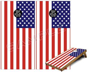 Cornhole Game Board Vinyl Skin Wrap Kit - USA American Flag 01 fits 24x48 game boards (GAMEBOARDS NOT INCLUDED)