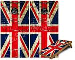 Cornhole Game Board Vinyl Skin Wrap Kit - Painted Faded and Cracked Union Jack British Flag fits 24x48 game boards (GAMEBOARDS NOT INCLUDED)