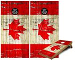 Cornhole Game Board Vinyl Skin Wrap Kit - Painted Faded and Cracked Canadian Canada Flag fits 24x48 game boards (GAMEBOARDS NOT INCLUDED)