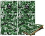 Cornhole Game Board Vinyl Skin Wrap Kit - HEX Mesh Camo 01 Green fits 24x48 game boards (GAMEBOARDS NOT INCLUDED)
