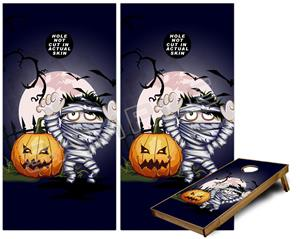 Cornhole Game Board Vinyl Skin Wrap Kit - Halloween Jack O Lantern Pumpkin Bats and Zombie Mummy fits 24x48 game boards (GAMEBOARDS NOT INCLUDED)