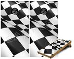 Cornhole Game Board Vinyl Skin Wrap Kit - Checkered Flag fits 24x48 game boards (GAMEBOARDS NOT INCLUDED)