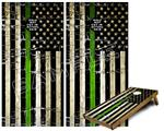 Cornhole Game Board Vinyl Skin Wrap Kit - Painted Faded and Cracked Green Line USA American Flag fits 24x48 game boards (GAMEBOARDS NOT INCLUDED)