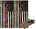 Cornhole Game Board Vinyl Skin Wrap Kit - Painted Faded and Cracked Pink Line USA American Flag fits 24x48 game boards (GAMEBOARDS NOT INCLUDED)