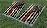 Cornhole Game Board Vinyl Skin Wrap Kit - Painted Faded and Cracked Red Line USA American Flag fits 24x48 game boards (GAMEBOARDS NOT INCLUDED)