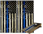 Cornhole Game Board Vinyl Skin Wrap Kit - Painted Faded and Cracked Blue Line USA American Flag fits 24x48 game boards (GAMEBOARDS NOT INCLUDED)