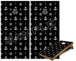 Cornhole Game Board Vinyl Skin Wrap Kit - Nautical Anchors Away 02 Black fits 24x48 game boards (GAMEBOARDS NOT INCLUDED)