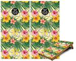Cornhole Game Board Vinyl Skin Wrap Kit - Beach Flowers 02 Yellow Sunshine fits 24x48 game boards (GAMEBOARDS NOT INCLUDED)