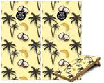 Cornhole Game Board Vinyl Skin Wrap Kit - Coconuts Palm Trees and Bananas Yellow Sunshine fits 24x48 game boards (GAMEBOARDS NOT INCLUDED)