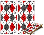 Cornhole Game Board Vinyl Skin Wrap Kit - Argyle Red and Gray fits 24x48 game boards (GAMEBOARDS NOT INCLUDED)