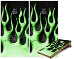 Cornhole Game Board Vinyl Skin Wrap Kit - Metal Flames Green fits 24x48 game boards (GAMEBOARDS NOT INCLUDED)