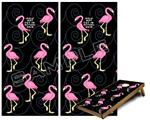 Cornhole Game Board Vinyl Skin Wrap Kit - Flamingos on Black fits 24x48 game boards (GAMEBOARDS NOT INCLUDED)
