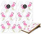Cornhole Game Board Vinyl Skin Wrap Kit - Flamingos on White fits 24x48 game boards (GAMEBOARDS NOT INCLUDED)