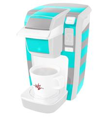 Psycho Stripes Neon Teal and Gray - Decal Style Vinyl Skin fits Keurig K10 / K15 Mini Plus Coffee Makers (KEURIG  NOT INCLUDED)