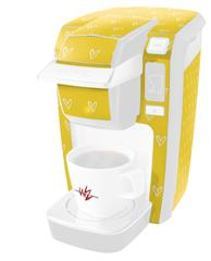 Hearts Yellow On White - Decal Style Vinyl Skin fits Keurig K10 / K15 Mini Plus Coffee Makers (KEURIG NOT INCLUDED)