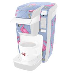 Flamingos on Blue - Decal Style Vinyl Skin fits Keurig K10 / K15 Mini Plus Coffee Makers (KEURIG  NOT INCLUDED)