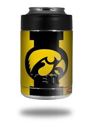 Skin Decal Wrap for Yeti Colster, Ozark Trail and RTIC Can Coolers - Iowa Hawkeyes Tigerhawk Oval 02 Black on Gold (COOLER NOT INCLUDED)