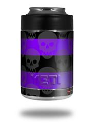 Skin Decal Wrap for Yeti Colster, Ozark Trail and RTIC Can Coolers - Skull Stripes Purple (COOLER NOT INCLUDED)