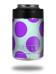 Skin Decal Wrap for Yeti Colster, Ozark Trail and RTIC Can Coolers - Kearas Polka Dots Purple And Blue (COOLER NOT INCLUDED)