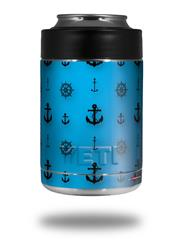 Skin Decal Wrap for Yeti Colster, Ozark Trail and RTIC Can Coolers - Nautical Anchors Away 02 Blue Medium (COOLER NOT INCLUDED)
