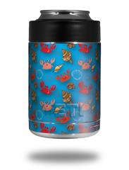 Skin Decal Wrap for Yeti Colster, Ozark Trail and RTIC Can Coolers - Crabs and Shells Blue Medium (COOLER NOT INCLUDED)