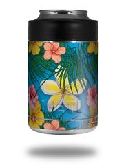Skin Decal Wrap for Yeti Colster, Ozark Trail and RTIC Can Coolers - Beach Flowers 02 Blue Medium (COOLER NOT INCLUDED)
