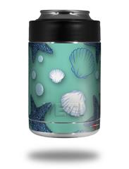 Skin Decal Wrap for Yeti Colster, Ozark Trail and RTIC Can Coolers - Starfish and Sea Shells Seafoam Green (COOLER NOT INCLUDED) by WraptorSkinz
