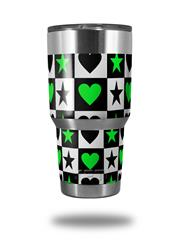 Skin Decal Wrap for Yeti Tumbler Rambler 30 oz Hearts And Stars Green (TUMBLER NOT INCLUDED)