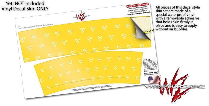59ed84719cb Yeti - Ozark Trail Tumbler 30oz Skin Wraps Hearts Yellow On White ...