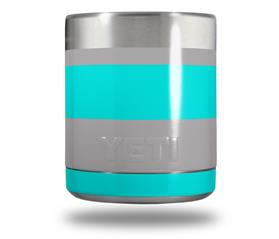 Skin Decal Wrap for Yeti Rambler Lowball - Psycho Stripes Neon Teal and Gray