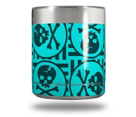 Skin Decal Wrap for Yeti Rambler Lowball - Skull Patch Pattern Blue