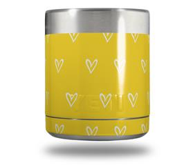 Skin Decal Wrap for Yeti Rambler Lowball - Hearts Yellow On White