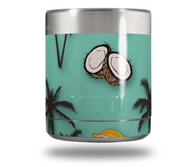 Skin Decal Wrap for Yeti Rambler Lowball - Coconuts Palm Trees and Bananas Seafoam Green