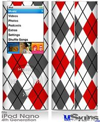iPod Nano 4G Skin - Argyle Red and Gray