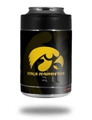 Skin Decal Wrap for Yeti Colster, Ozark Trail and RTIC Can Coolers - Iowa Hawkeyes Herkey Gold on Black (COOLER NOT INCLUDED) by WraptorSkinz