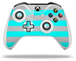 Psycho Stripes Neon Teal and Gray - Decal Style Skin fits Microsoft XBOX One X and One S Wireless Controller