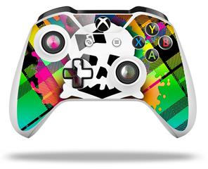 Rainbow Plaid Skull - Decal Style Skin fits Microsoft XBOX One X and One S Wireless Controller