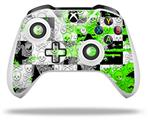 Checker Skull Splatter Green - Decal Style Skin fits Microsoft XBOX One X and One S Wireless Controller