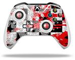Checker Skull Splatter Red - Decal Style Skin fits Microsoft XBOX One X and One S Wireless Controller