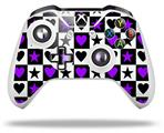 Purple Hearts And Stars - Decal Style Skin fits Microsoft XBOX One X and One S Wireless Controller