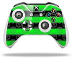 Skull Stripes Green - Decal Style Skin fits Microsoft XBOX One X and One S Wireless Controller