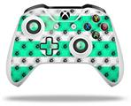Kearas Daisies Stripe Sea Foam - Decal Style Skin fits Microsoft XBOX One X and One S Wireless Controller