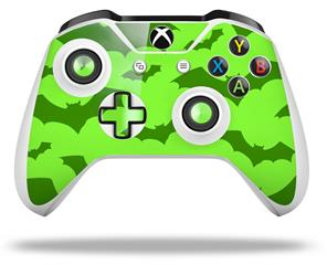 Deathrock Bats Green - Decal Style Skin fits Microsoft XBOX One X and One S Wireless Controller