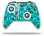 Skull Patch Pattern Blue - Decal Style Skin fits Microsoft XBOX One X and One S Wireless Controller