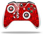 Skull Patch Pattern Red - Decal Style Skin fits Microsoft XBOX One X and One S Wireless Controller